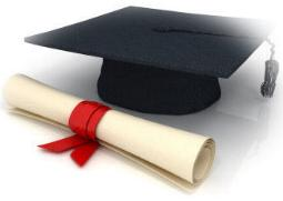 graduating diploma and cap